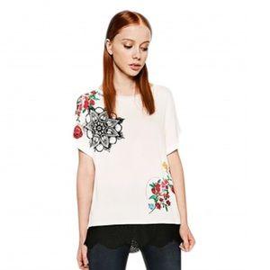 NWT Desigual White T-Shirt Floral Art Lace Trim